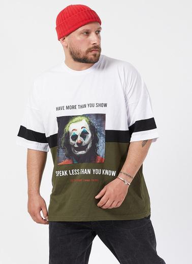 XHAN Beyaz Baskılı Bloklu Oversie T-Shirt 1Kxe1-44593-01 Beyaz